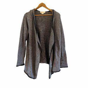 Michael Kors Black White Cotton Knit Wrap Cardigan